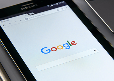 google search bar on tablet