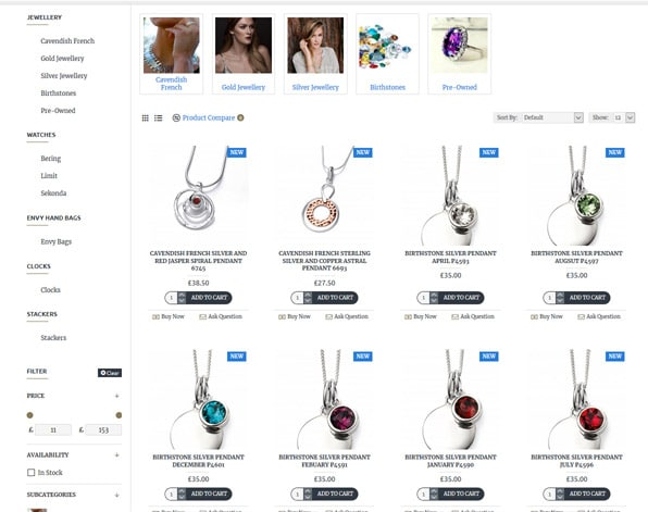 Jewllery Website Design Screen Shot